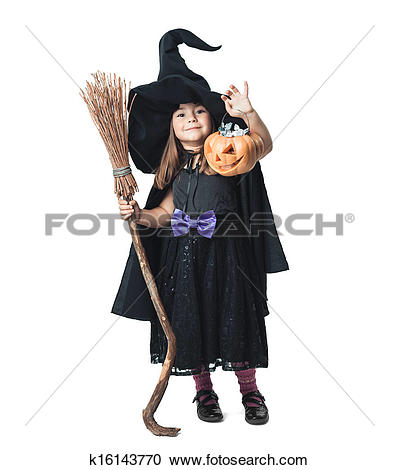 Stock Photography of little witch shows the collected candy.