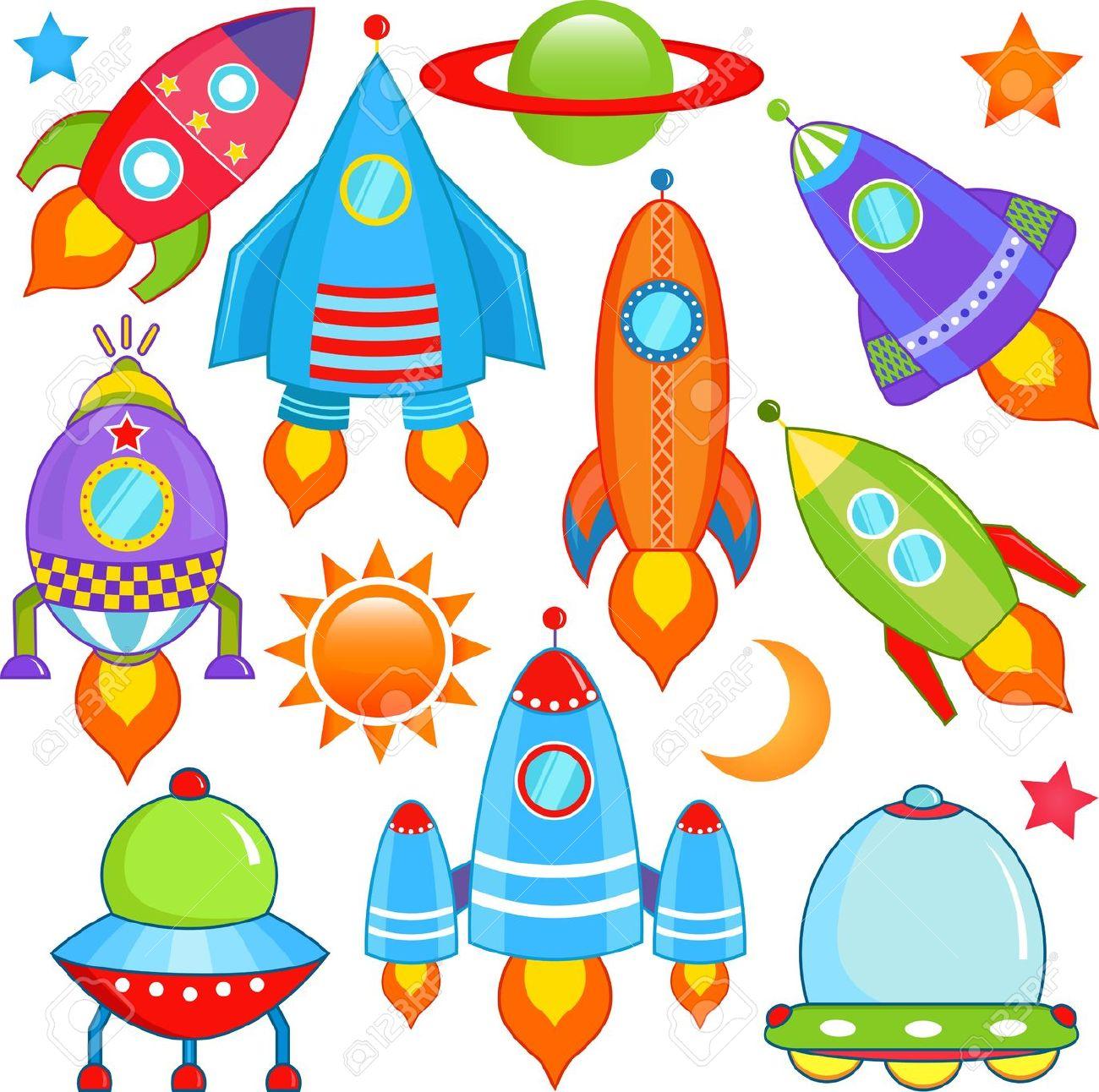 Vector Collection Of Spaceship, Spacecraft, Rocket, UFO Royalty.