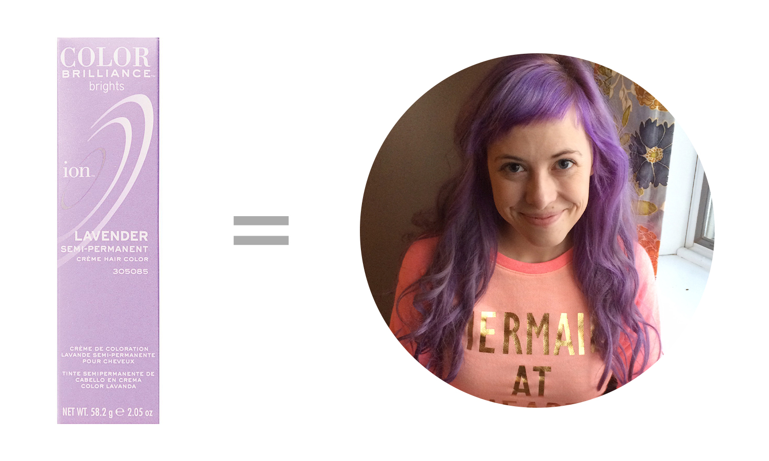 of hair + color [the coloring process].