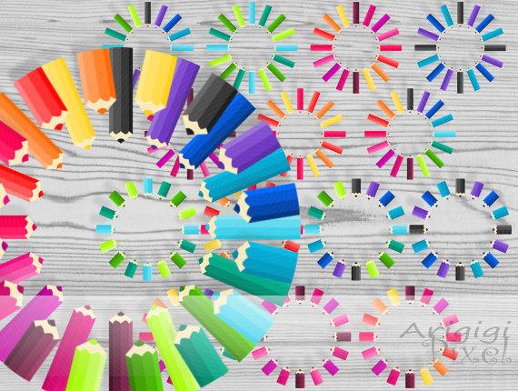 14 pencils round frames, clip art set in 16 rainbow colors, back.
