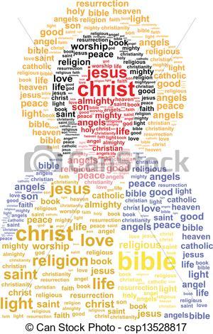 Vector Clip Art of Jesus Christ Word Cloud Concept csp13528817.