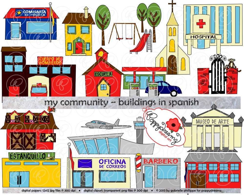 Clipart community buildings.