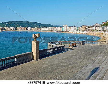 Stock Images of Concha bay from Kontxa Pasalekua balcony. San.