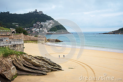 Beach Of Bay Of La Concha In San Sebastian. Spain Stock Photo.