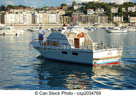 Stock Photographs of Recreation Ship in Concha Bay. San Sebastian.