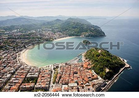 Stock Photo of Aerial view of Concha Bay, Donostia.