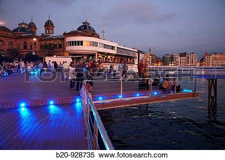 Stock Image of Yacht club viewpoint in the evening, La Concha bay.
