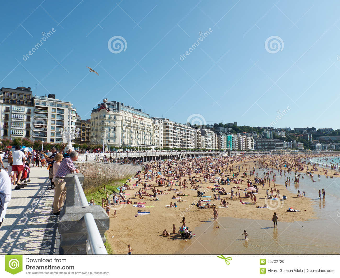 Concha Beach In Concha Bay. San Sebastian, Spain. Editorial Image.