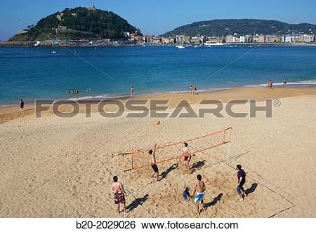 Stock Images of Ondarreta beach. La Concha bay. Donostia. San.