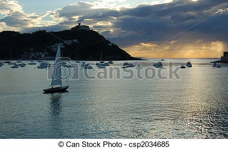 Stock Images of Sailing Boat in Concha Bay. San Sebastian, Spain.