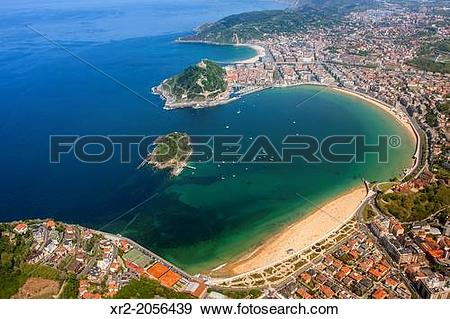 Stock Photograph of Aerial view of Concha Bay, Donostia.