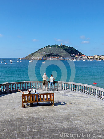 Concha Beach In Concha Bay. San Sebastian, Spain. Editorial Stock.