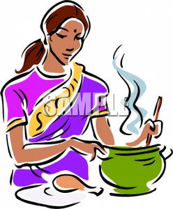 Mexican Woman Cooking Clipart.