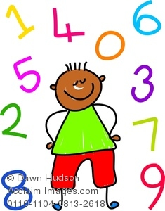 Clipart Image of A Happy Little Girl Learning To Count.