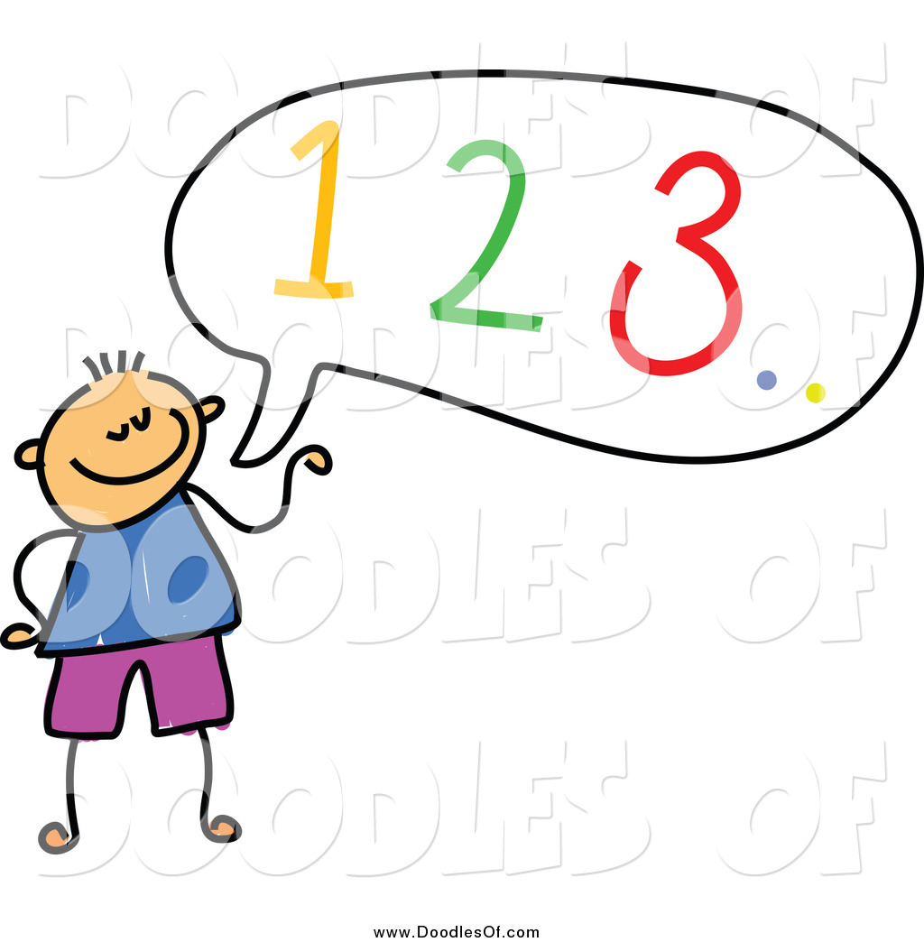 Vector Clipart of a Doodled Boy Counting out Loud by Prawny.