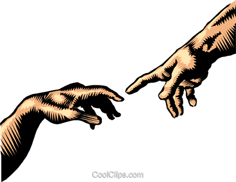 Hand of God, the creation of Adam Royalty Free Vector Clip Art.