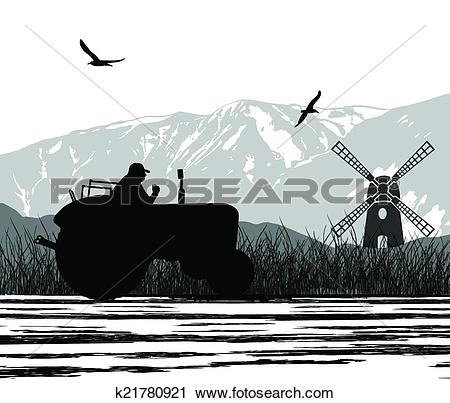 Clipart of Agriculture tractor in cultivated landscape k21780921.