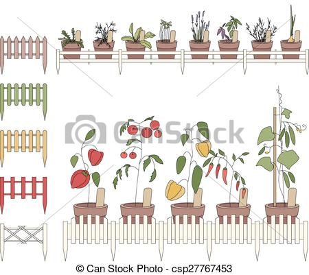 Clipart Vector of Flower pots with cultivated flowers. Decorative.