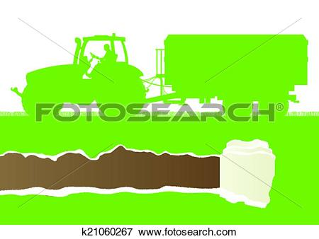 Clip Art of Agriculture tractor with corn trailer in cultivated.