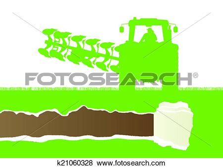 Clip Art of Agriculture tractor plowing the land in cultivated.