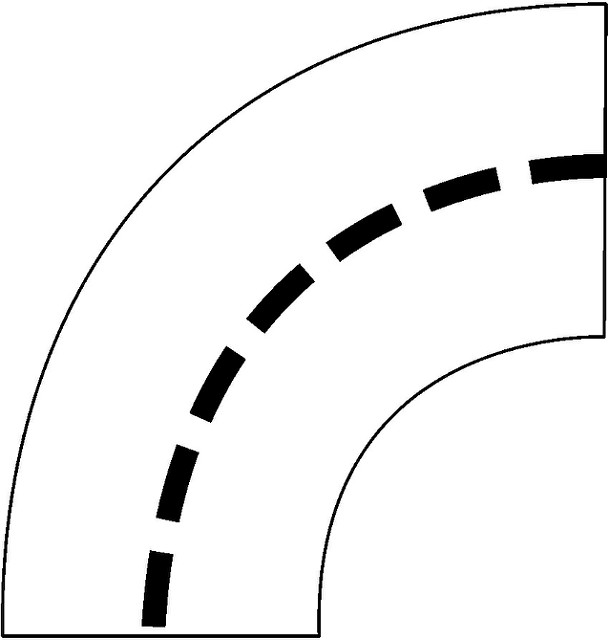 The Curve In Road Black And White Clipart.