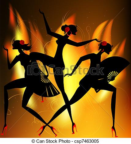 Clipart Vector of flaming dance.