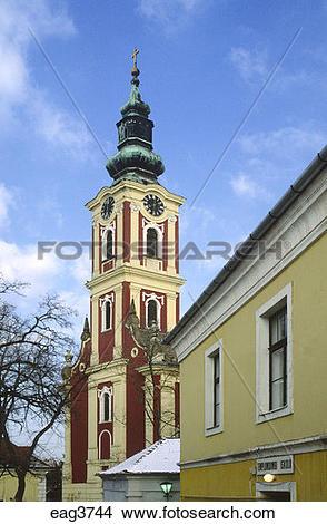 Stock Photo of STEEPLE of a SERBIAN ORTHODOX CHURCH in SZENTENDRE.