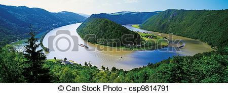 Stock Photography of River Danube bend at Schlogen, Austria.