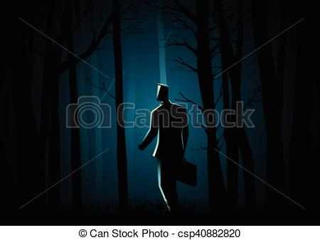 Vector Illustration of Walking in the dark forest.