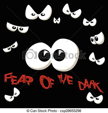 Clip Art Vector of Scared of the Dark.
