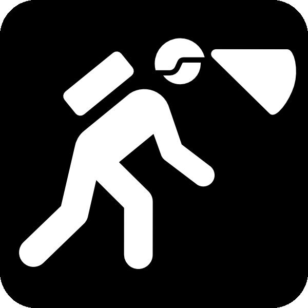 Walking In The Dark With Light In Helmet clip art Free Vector.