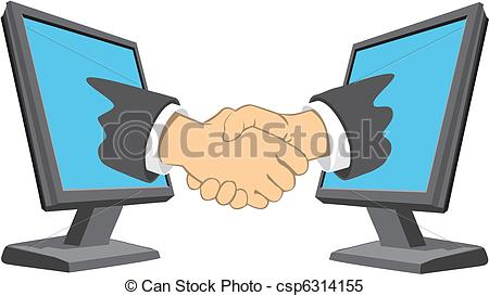 Clipart Vector of The deal on the internet.