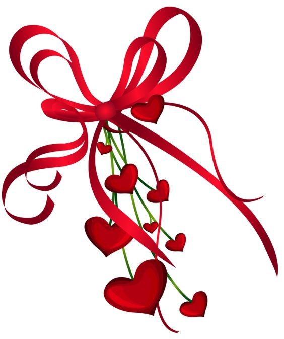 Valentines Day Hearts Decor with Red Bow PNG Clipart.