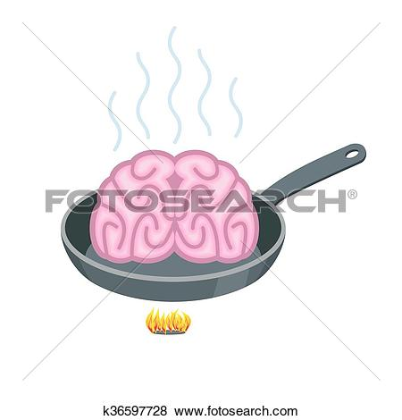 Clip Art of Brain in frying pan. Delicacy for Asia. Fry Pink.