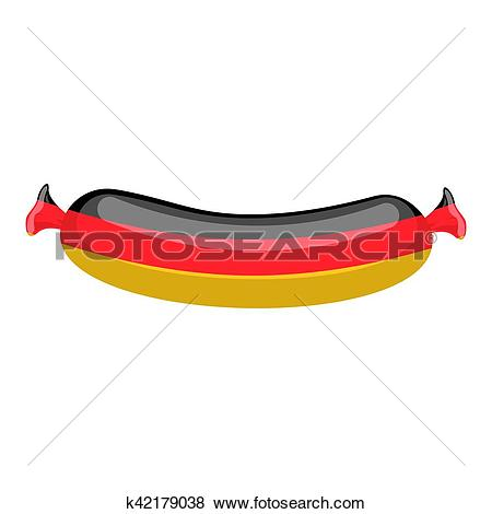 Clip Art of German sausage isolated. traditional Meat delicacy.