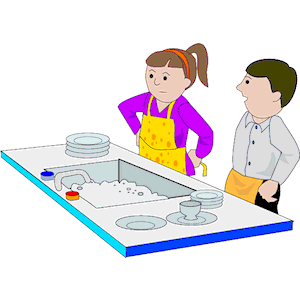 Washing dishes clip art.