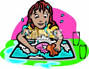 Girl Washing the Dishes.