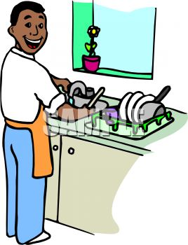 Royalty Free Clipart Image: Black Man Washing Dishes.