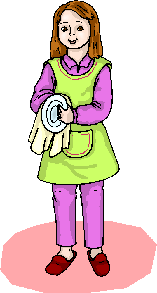 Drying dishes clipart.