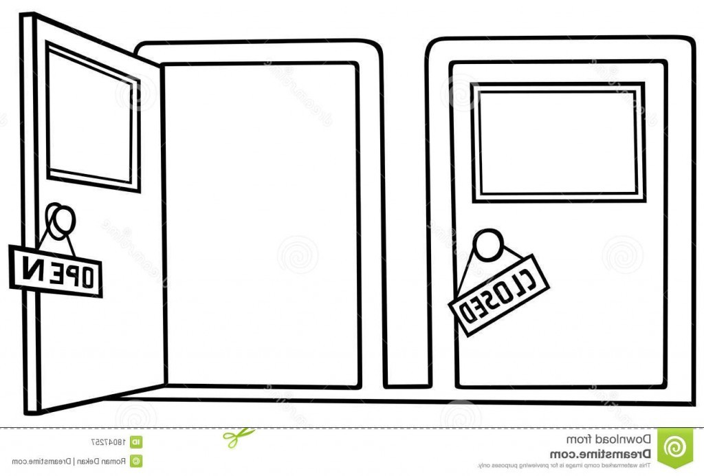 Open and closed door clipart.