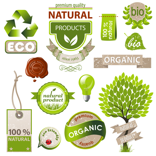 Natural with Eco labels and tags vector.