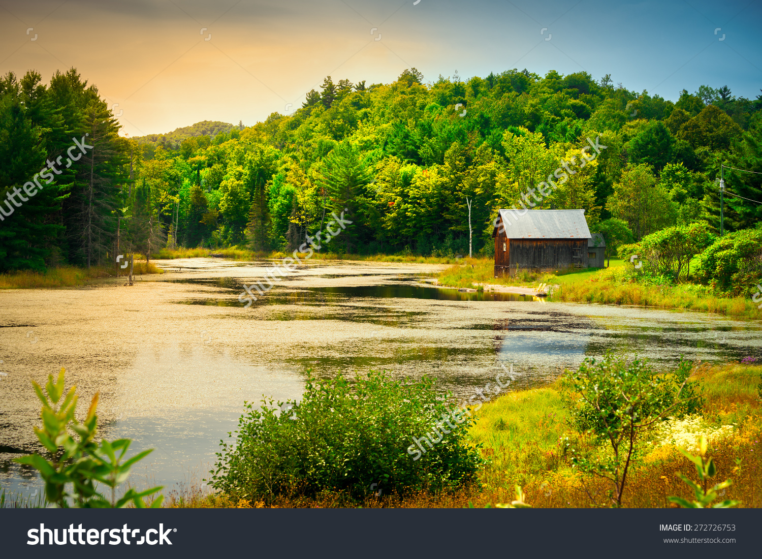A Small, Wooden Cabin Near The Edge Of A Small Small River Or Pond.