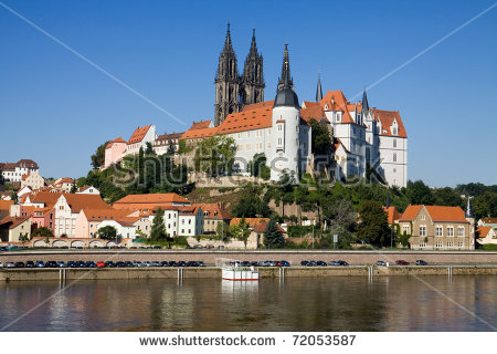 Cityscape Of Meissen In Germany With The Albrechtsburg Castle On.