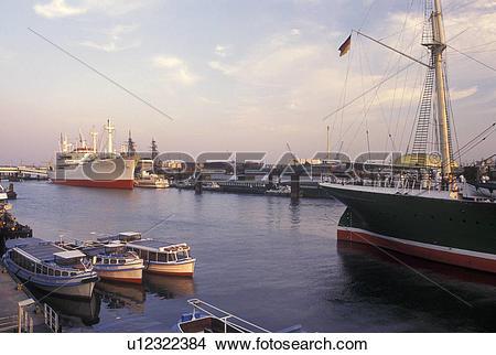 Stock Photo of Hamburg, Germany, Elbe River, North Sea, Europe.