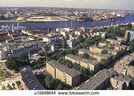 Stock Photo of Hamburg, Germany, Elbe River, Europe, Aerial view.