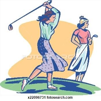 Lady Golfer Clip Art.