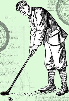 Golfer Lady Digital Printable Download Golf Image Illustration.