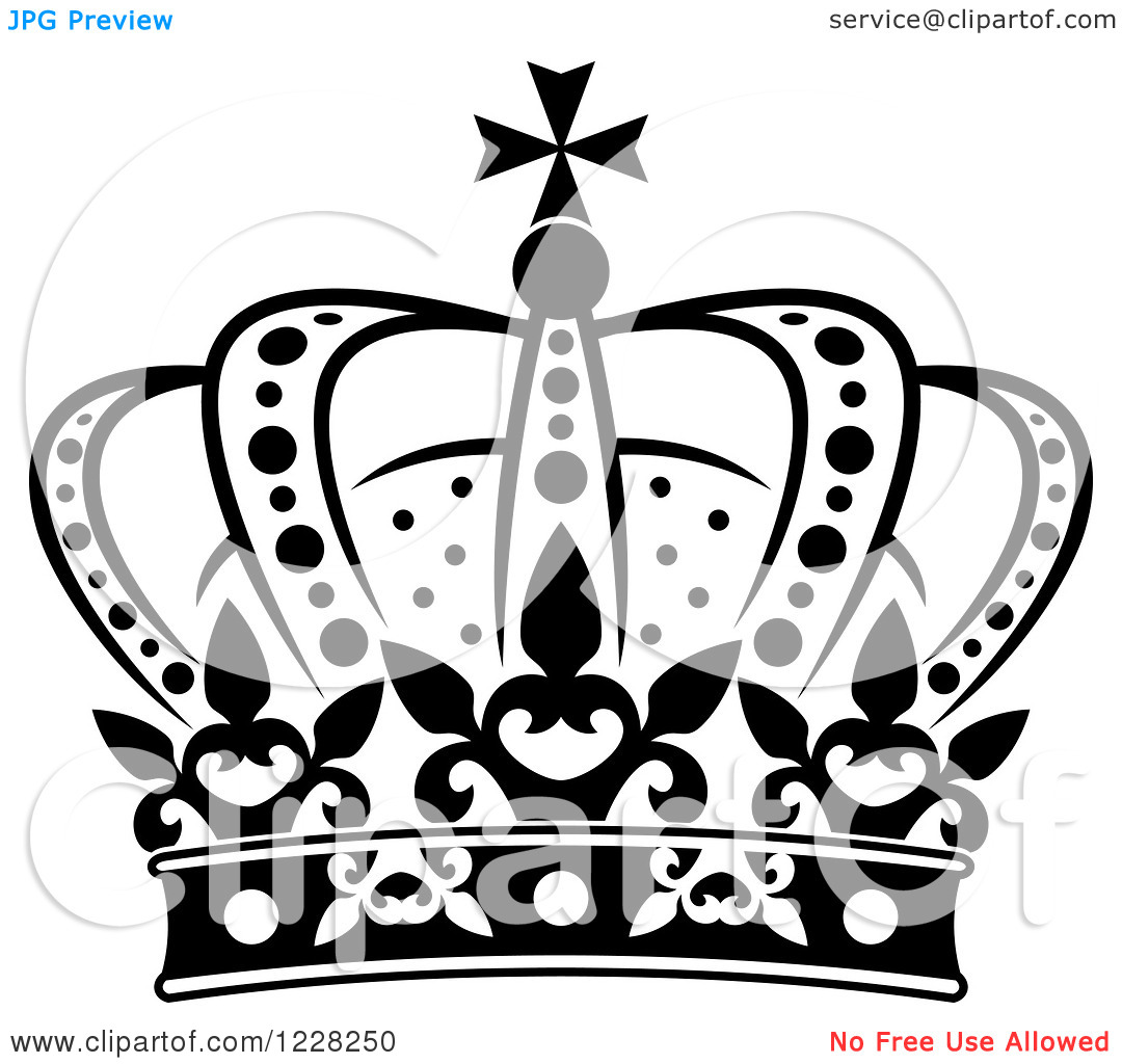 Clipart of a Black and White Crown 19.