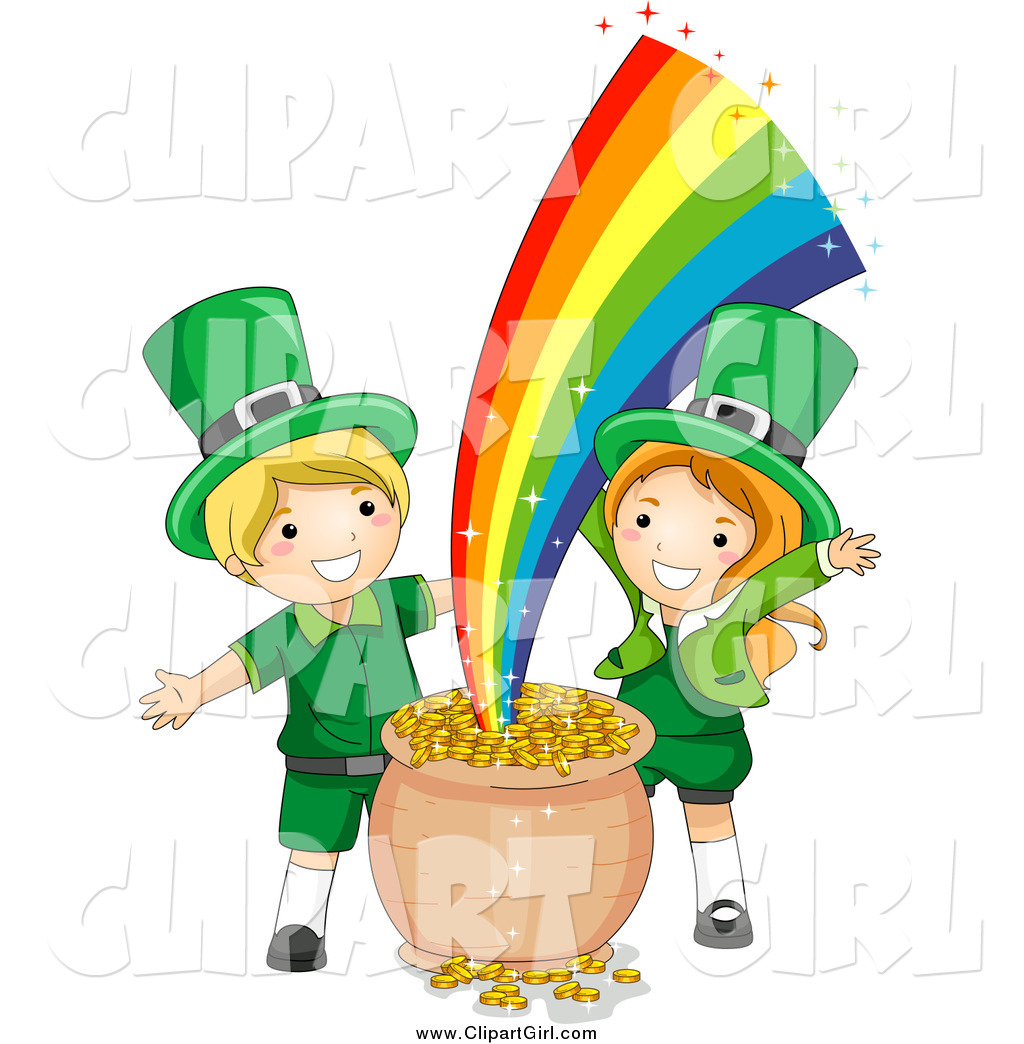 Clip Art of St Patricks Day Leprechaun Kids with Gold at the.