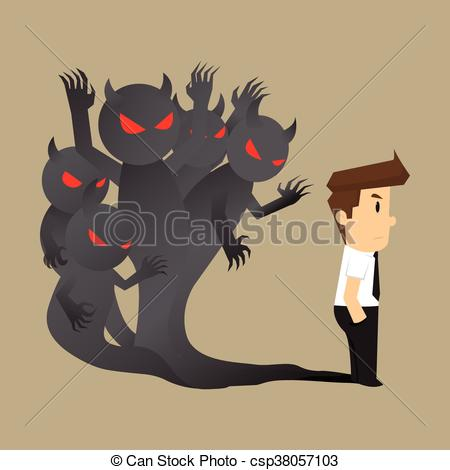 Vector Clipart of businessman the evil within himself. vector.